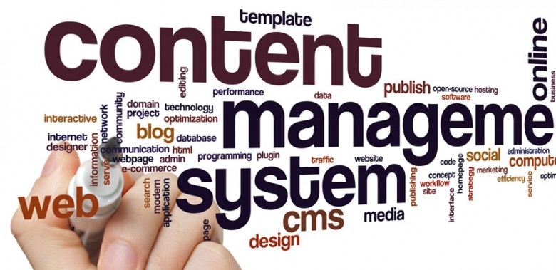 Content management system concept word cloud background