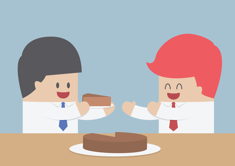 Businessman give a piece of cake to another, Market share concept, VECTOR, EPS10